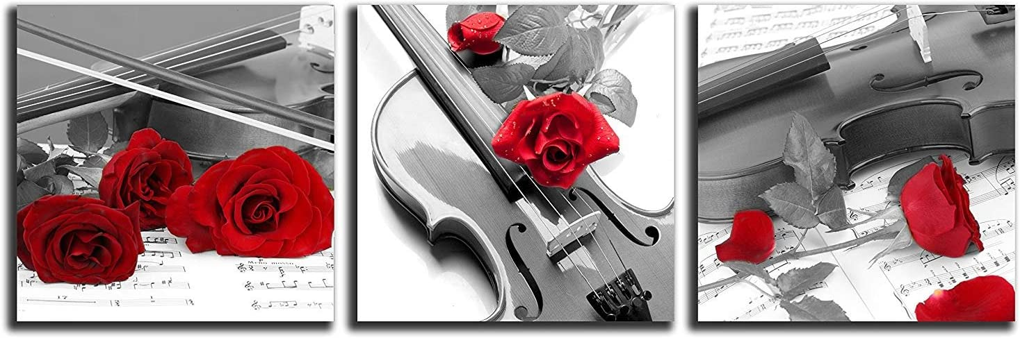 NAN Wind 3 Pcs 12X12inches Canvas Print Violin and Red Rose in Black and White Modern Giclee Stretched and Framed Artwork for Home Decor Music Pictures Prints On Canvas for Wall