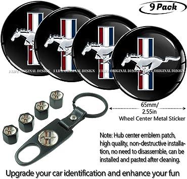 4pcs D028 56.5mm Emblem Badge Sticker Wheel Hub Caps Centre Cover Black Ford Mustang Cobra Jet Shelby