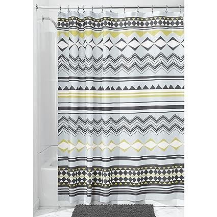 Amazon InterDesign Aztec Fabric Shower Curtain Mist Okra Home
