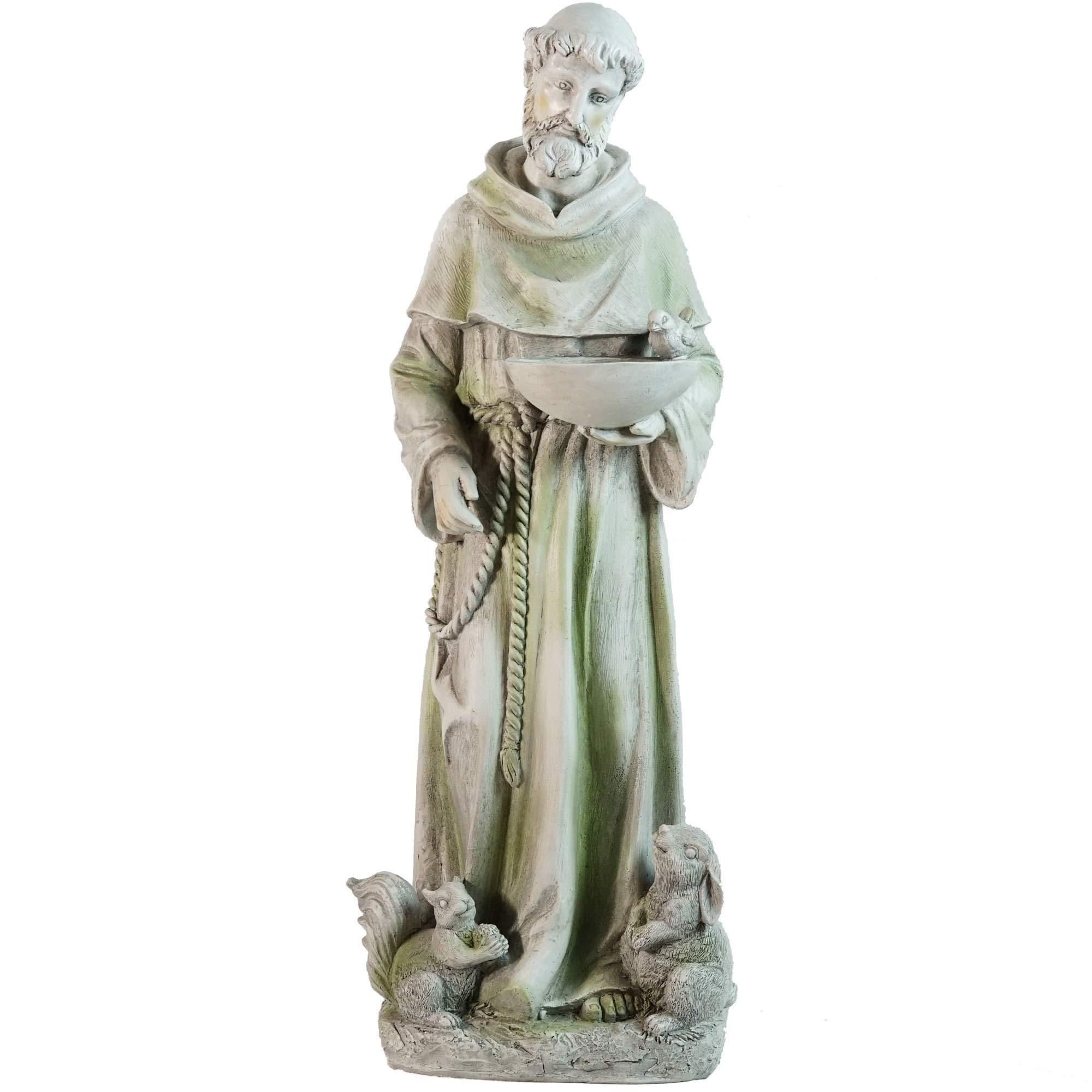 Northlight Standing Religious St. Francis of Assisi Bird Feeder Outdoor Garden Statue, 23.5'', Gray