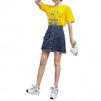 DER - Falda de Jean Suelta para Mujer (versión Coreana de la Talle ...