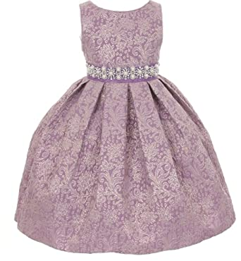 c3ad72b7d93 Big Girls  Gorgeous Metallic Embroidered Jacquard Gown Flowers Girls  Dresses Lilac Size 12