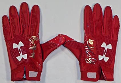 38a67a044c2 Ryan Griffin Houston Texans Autographed Game Used Under Armour Gloves Red 1  - NFL Game Used