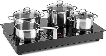 Klarstein Deejay Placa de inducción - Panel Vitrocerámica, Zona libre de inducción, Control Touch, 3500 W, Función Boost, Montaje o independiente, ...