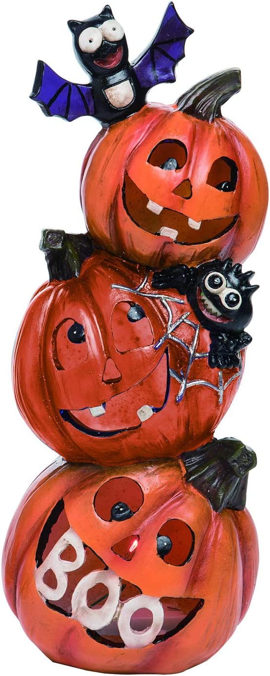 One Holiday Way Light Up Cheerful Stacked Pumpkins Halloween Figurine – Tabletop Halloween Decoration (Bats)