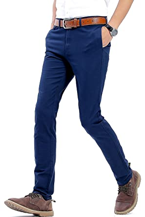 c12a552d26 Mens Slim Tapered Stretch Flat Front Casual Pants 100% Cotton Dress ...