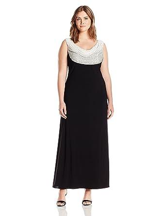 Rm Richards Womens Plus Size Beaded Cowl Neck Dress At Amazon