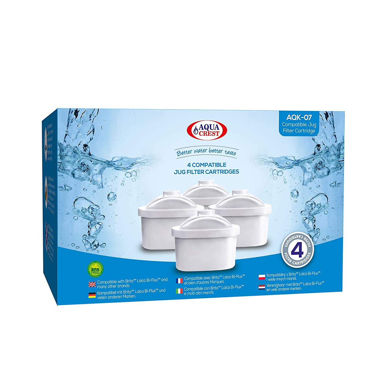 4 x AquaCrest AQK-07 sostituzione filtro brocca d'acqua per Brita Maxtra, Mavea, Laica Bi-Flux, Dafi Unimax, Aquaphor Maxfor, AmazonBasics, PearlCo Unimax, Aluna Cool, Lauson AWF102, Aqua Optima Evolve, ANNA Duomax CMIBJCK003643