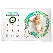 Baby Monthly Milestone Blanket | Premium Fleece Large 40  x 60  | Wreath Frame Included | Boy Newborn Month Blanket | New Mom Baby Shower Gift | Photo Background Prop, Bunny