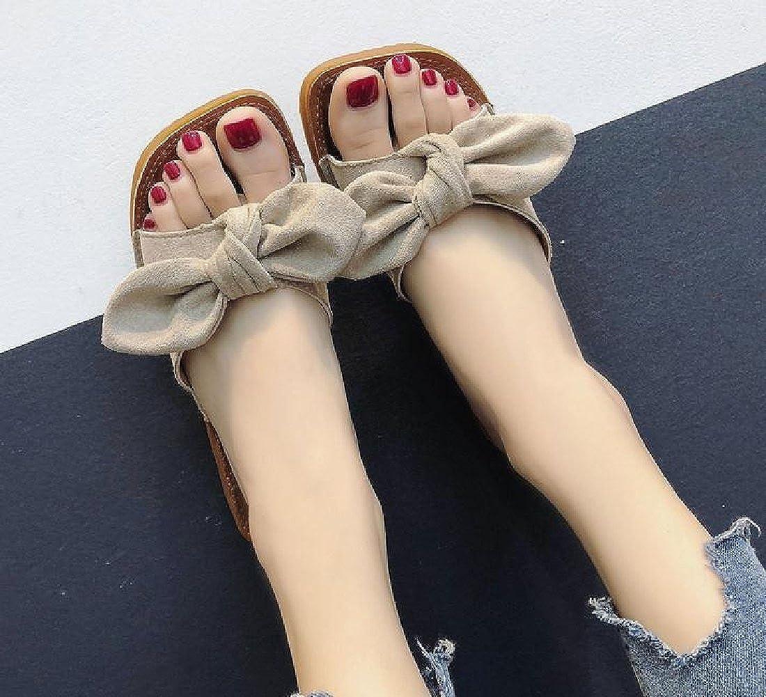 Abetteric Womens Bechwear Slippers Maxi Boho Sandals Bow Flat Wedges Slides