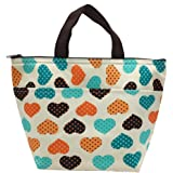 Mziart Oxford Cloth Insulated Lunch Bag Reusable Lunch Box Tote Bag Cooler Bag for Women Adults Kids (Cute Love Heart)