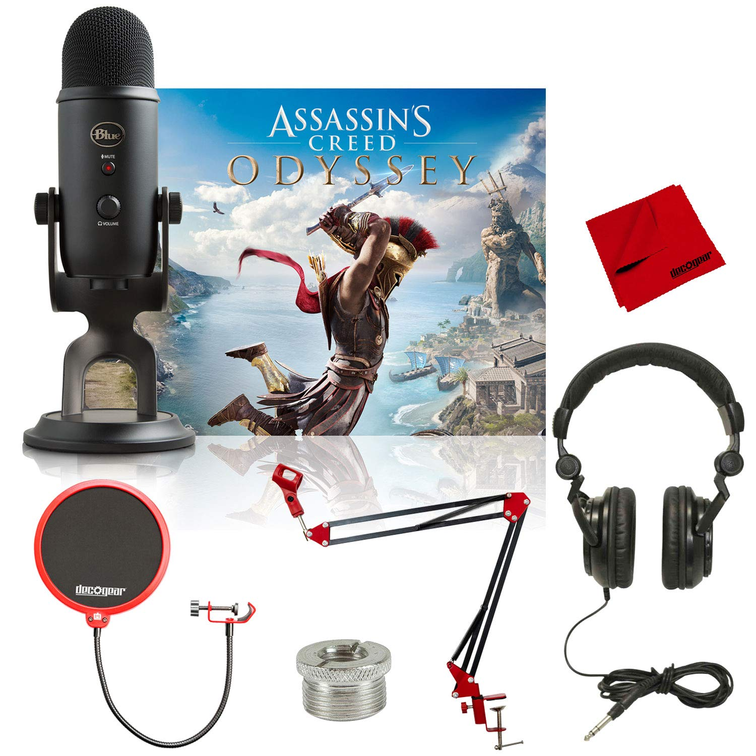 Blue Yeti Blackout USB Microphone + Assassin's Creed Odyssey Bundle and Deco Gear Twitch Streamer Combo - Includes Boom Arm, Pop Filter, Screw Adapter, Tascam Headphones, and Microfiber Cleaning Cloth