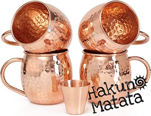 Hammered Moscow Mule Mug // Cup 16 Oz Ha Handmade Of 100/% Pure Copper Set of-4
