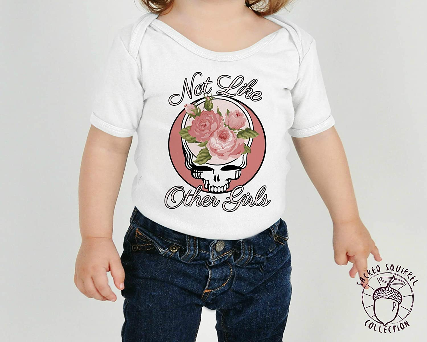Grateful Dead Not Like the Other Girls Steal Your Face Flowers Baby Bodysuit or Toddler Kids T-Shirt Dead Head Christmas Gift Little Girl Outfit