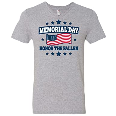 63398a027 inktastic - Memorial Day Honor Men's V-Neck T-Shirt Small Athletic Heather  303fc