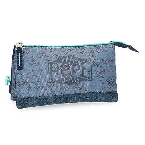 Pepe Jeans Pierce Neceser de Viaje, 22 cm, 1.32 litros, Azul ...