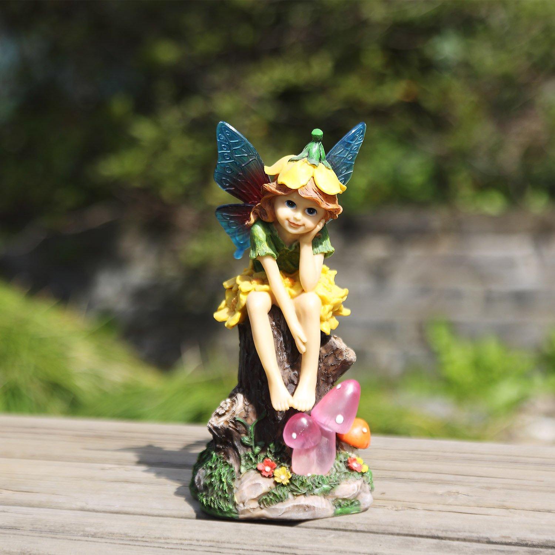 Ivy Home Solar Powered Miniature Fairy Garden Statuary for Outdoor Decor