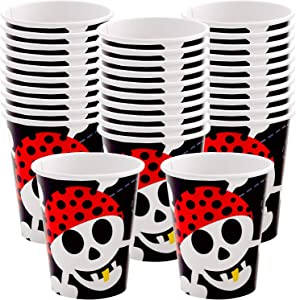 Kicko Pirate Paper Cups - 32 Pack - 9 Ounces - Disposable Drinking Glasses - Dinner Accessories for Party Favors, Holidays, Weddings, Office, Outdoor Activities and More