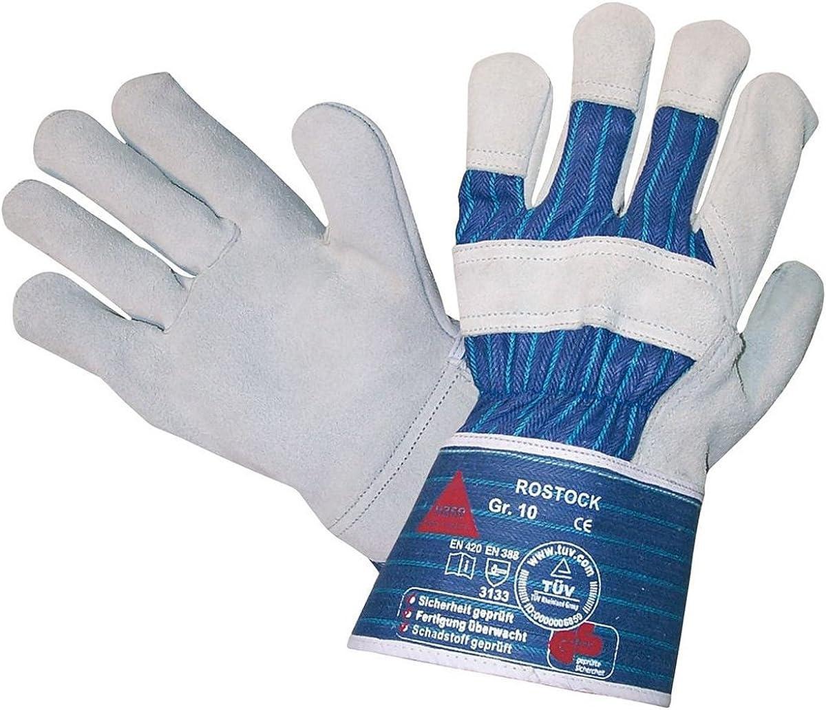 gant de travail universel avec un gant en cuir de haute qualit/é en cuir de vachette de qualit/é ROSTOCK Gants de s/écurit/é en cro/ûte de cuir T/ÜV GS tailles 7 /à 12