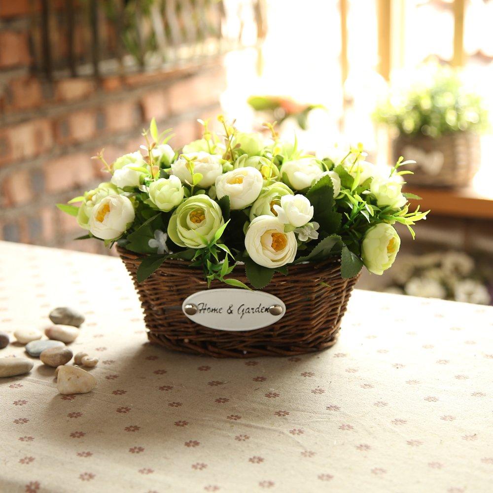 Centerpieces For Wedding.Hyxflower Artificial Fake Flowers Arrangements In Oval Basket Silk Plastic Floral Table Centerpieces For Wedding Office Garden Living Room Home Decor