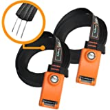Onefeng Sports Lockable Tie Down Strap with 3 Stainless Steel Cables - 2 Pack 10 ft