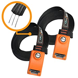 Onefeng Sports Lockable Tie Down Strap with 3 Stainless Steel Cables - 2 Pack