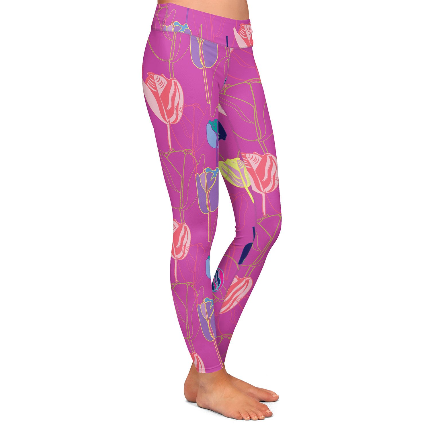 Tulips Pink Yellow Athletic Yoga Leggings from DiaNoche Designs by Yasmin Dadabhoy
