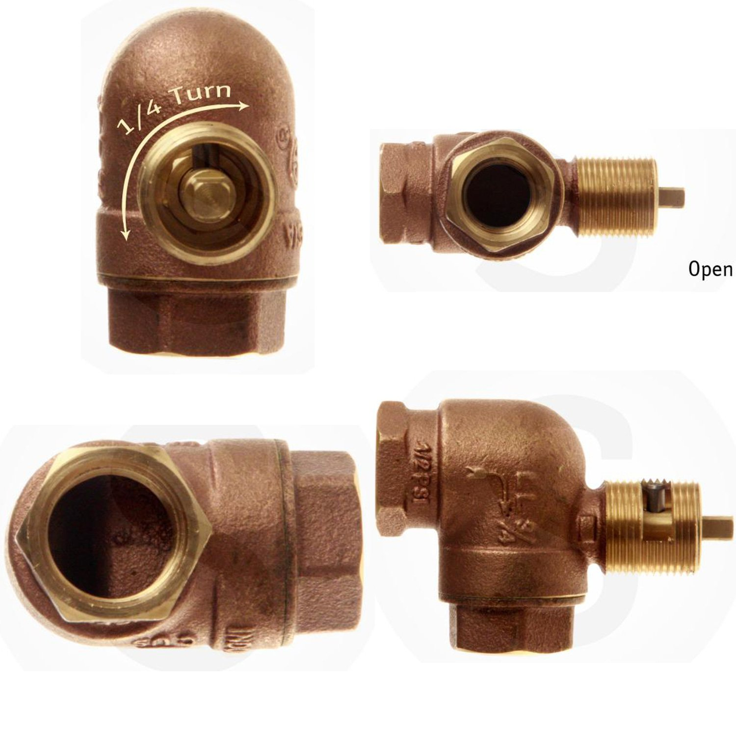 Hearth Products Controls HPC 3/4-Inch Angled Gas Fire Pit Shut Off Valve Kit (MAAB-HC), Antique Brass Flange and Key