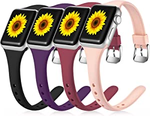 Laffav Slim Band Compatible with Apple Watch 40mm 38mm for Women Men, Narrow Soft Silicone Thin Small Replacement Wristband for iWatch SE & Series 6 5 4 3 2 1, Black/Pink Sand/Wine Red/Purple, M/L