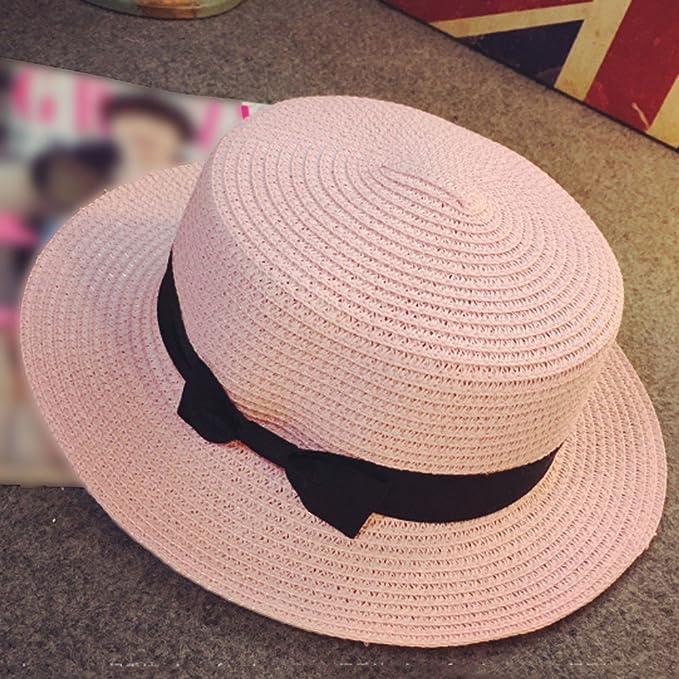 Amazon.com  PIKAqiu33 Unisex Wide Brim Straw Hat Fedora Tie Beach Sun  Gangster Hat (Beige)  Clothing 4e5e8560a04a