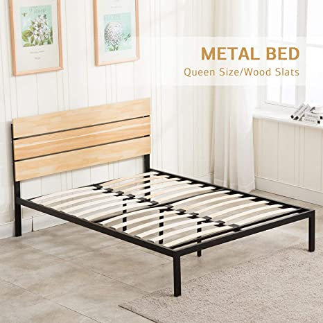 Amazing Lagrima 11 8 Inch Metal Platform Bed Frame With Wooden Headboard Wooden Slat Support Mattress Foundation Easy Assembly Queen Dailytribune Chair Design For Home Dailytribuneorg