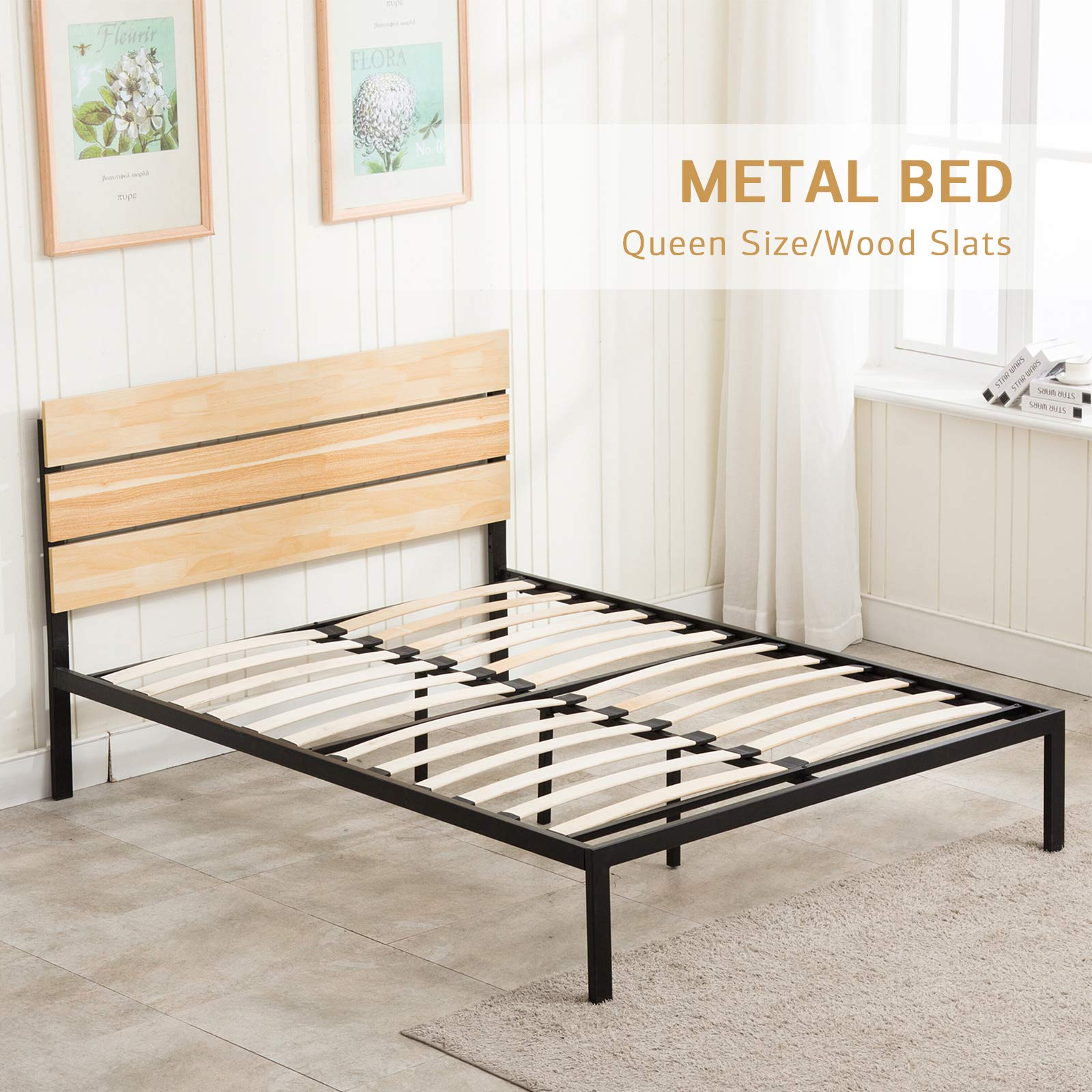 LAGRIMA 11.8 Inch Metal Platform Bed Frame | with Wooden Headboard | Wooden Slat Support | Mattress Foundation | Easy Assembly, Queen