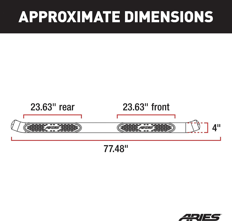 4 Black Powder Coated Standard Oval Nerf Bar S224046 Aries