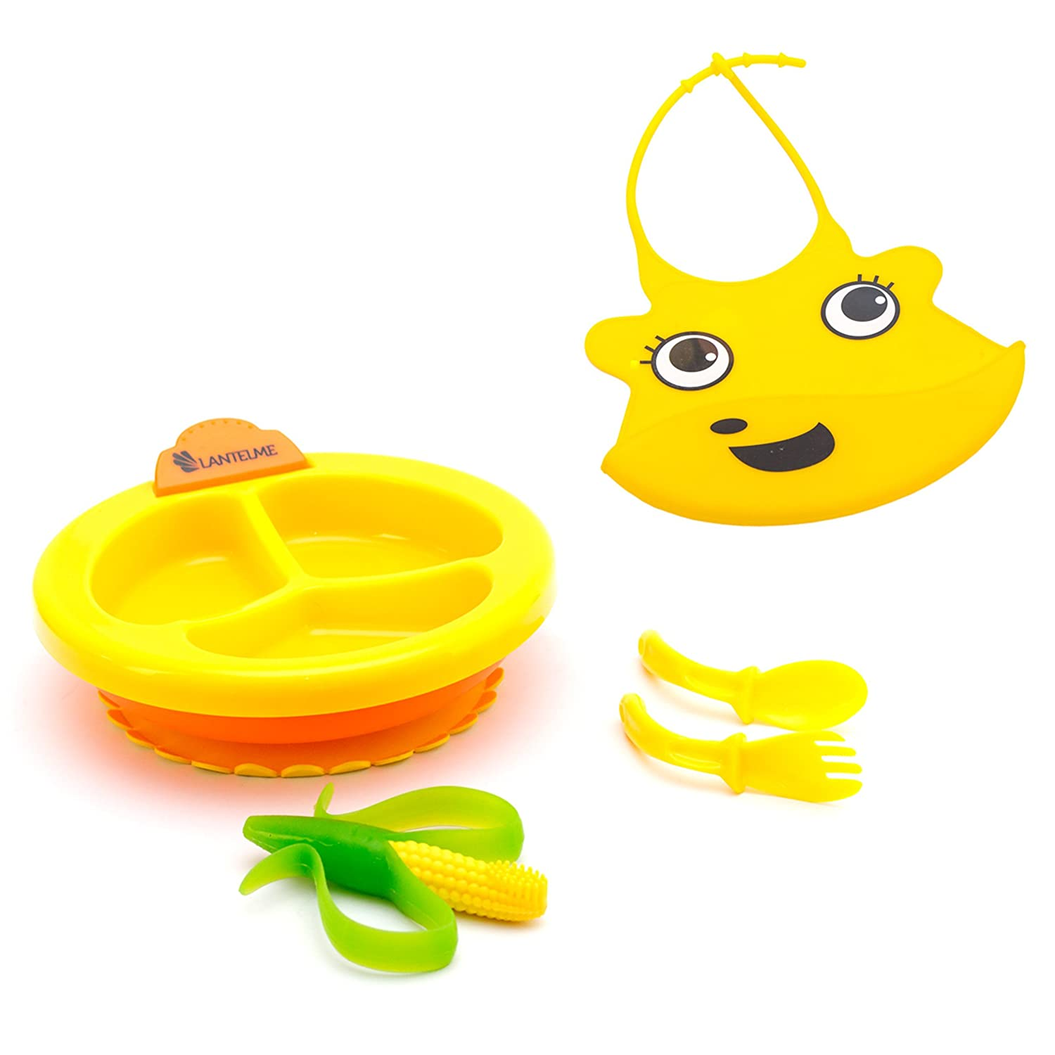 Lantelme 5802 Baby Bib and Feeding Bowl Set with Cutlery and Teether. Warming Plate and Bib Yellow