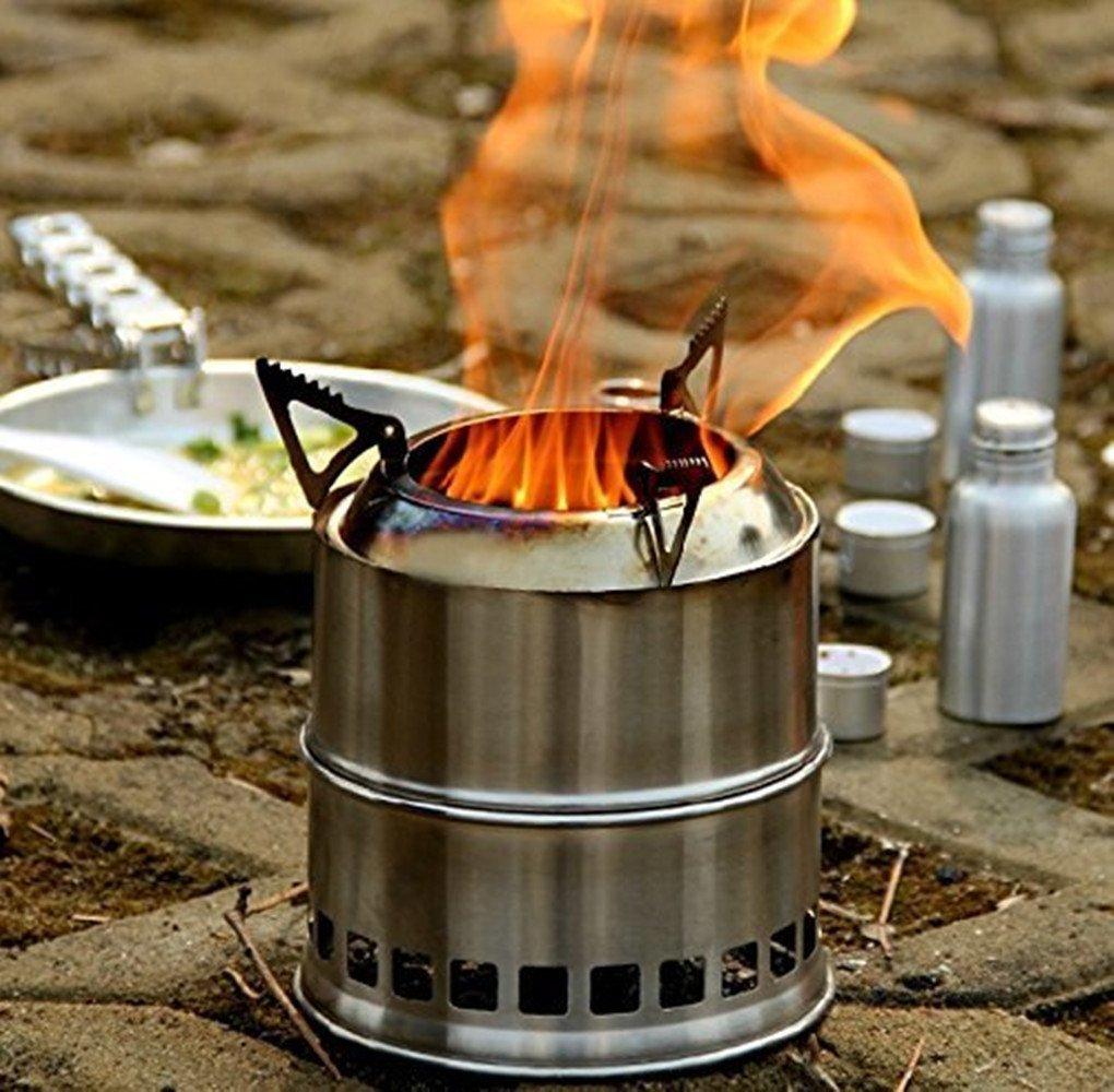 Forfar Estufa de Campaña Portable Hornillo de Acampada de Leña, Alcohol, Carbón Fogón Acero Inoxidable para Uso de Cocina, Campamento, Aire Libre, BBQ, etc.