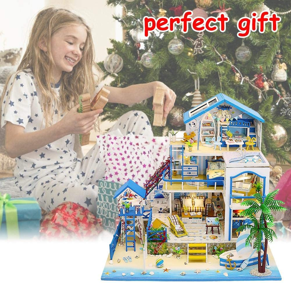 Dollhouse Miniature with Furniture Creative Room Idea DIY Wooden Dollhouse Kit Plus Dust Proof and Music Movement Best Birthday Gifts for Women and Girls