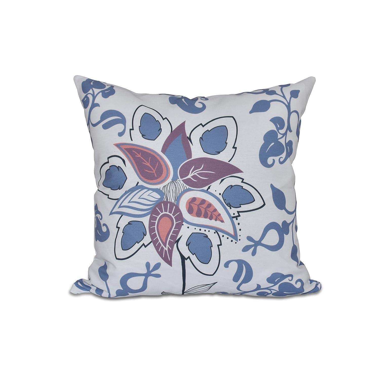 E by design O5PFN435BL15-16 16 x 16 Paisley Pop Floral Print Blue Outdoor Pillow