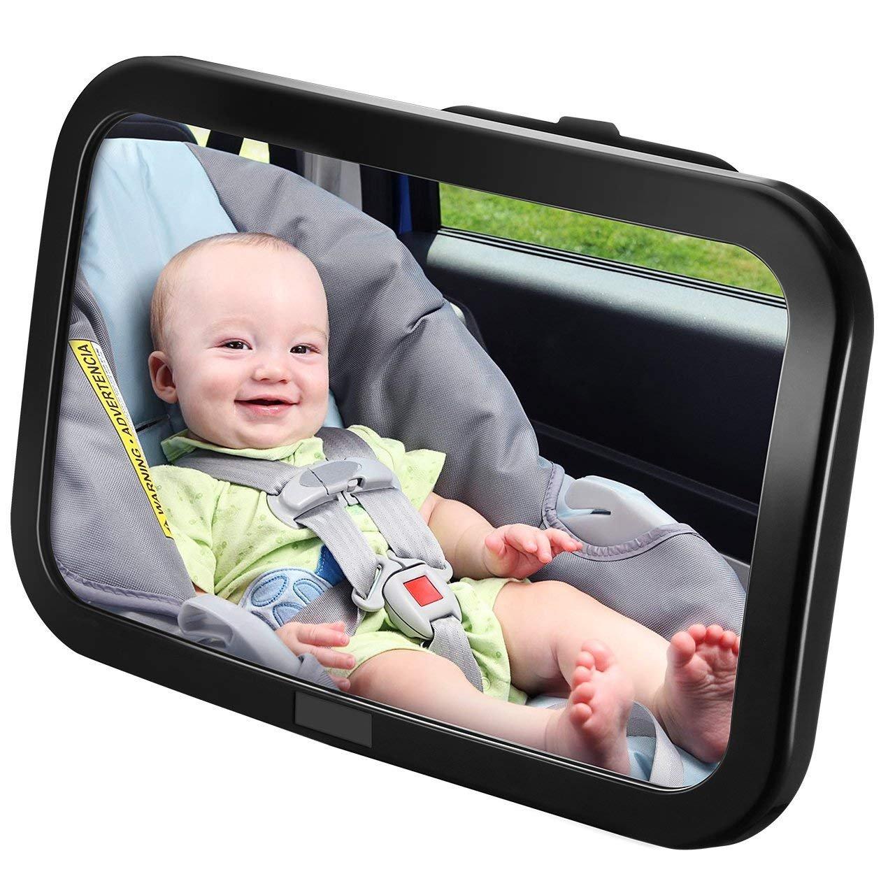 Westeng 1 PCS Espejo Retrovisor Coche para Vigilar al bebé en el Coche - Ángulo Ajustable de 360°, Color Negro