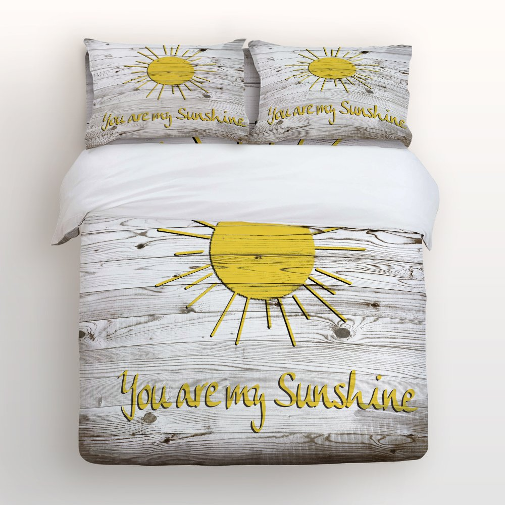 Vandarllin You Are My Sunshine 4 Piece Bedding Sets Twin Size,Rustic Country Barn Wood Printed Duvet Cover Set Decorative Bedspread For Kids/Childrens/Teens/Adults,