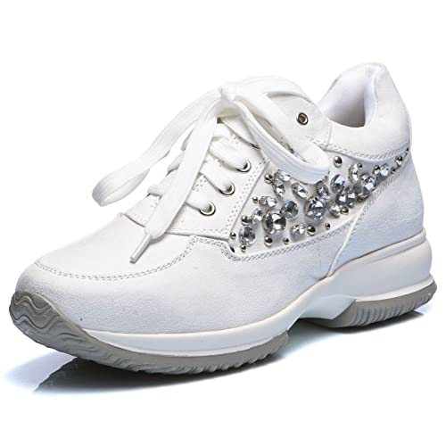 abe800568f MForshop Scarpe Donna Sneakers Stringata Eco Pelle Scamosciata Sport ...