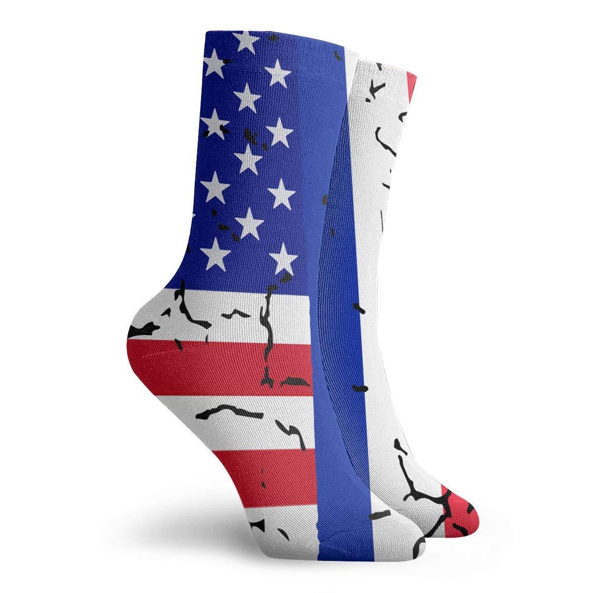 Women Men USA France Flag Cushion Crew Socks