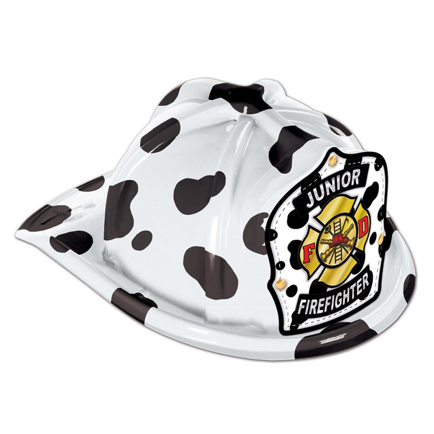 Club Pack of 48 Black and White Dalmatian Print Junior Firefighter Hat Costume Accessories by Party Central