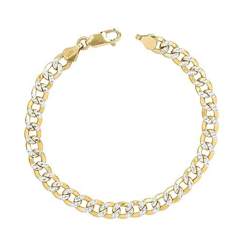 "14K Yellow Gold Hollow Diamond Cut Rope Bracelet 4mm 7-9/"" Chain Link Men Women"
