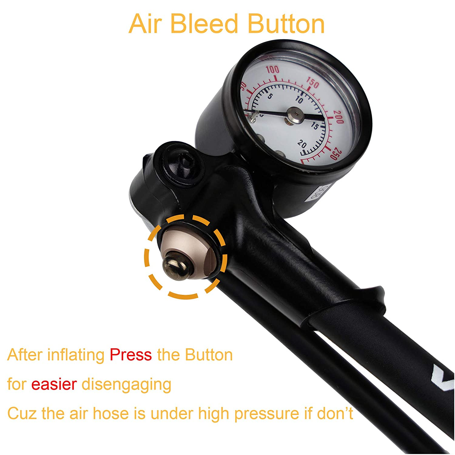 No Air Loss Nuzzle Venzo Bike Bicycle 300 PSI High Pressure Dual Double Face with Gauge Fork Shock Rear Suspension Mini Air Pump for Mountain MTB Downhill Fork