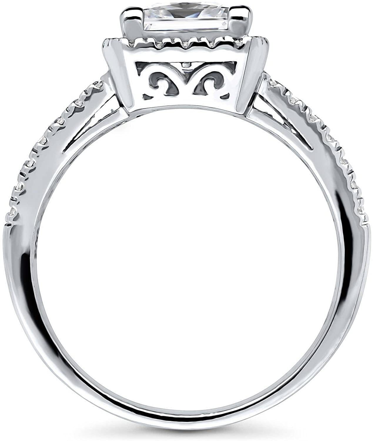 BERRICLE Rhodium Plated Sterling Silver Princess Cut Cubic Zirconia CZ Halo Promise Engagement Split Shank Ring 2.07 CTW