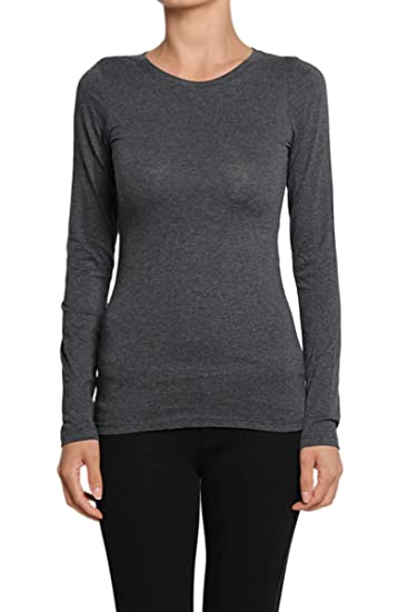 9467a67a5 TheMogan Junior's Solid Plain Crew Neck Long Sleeve Stretch Cotton Tee  Charcoal S