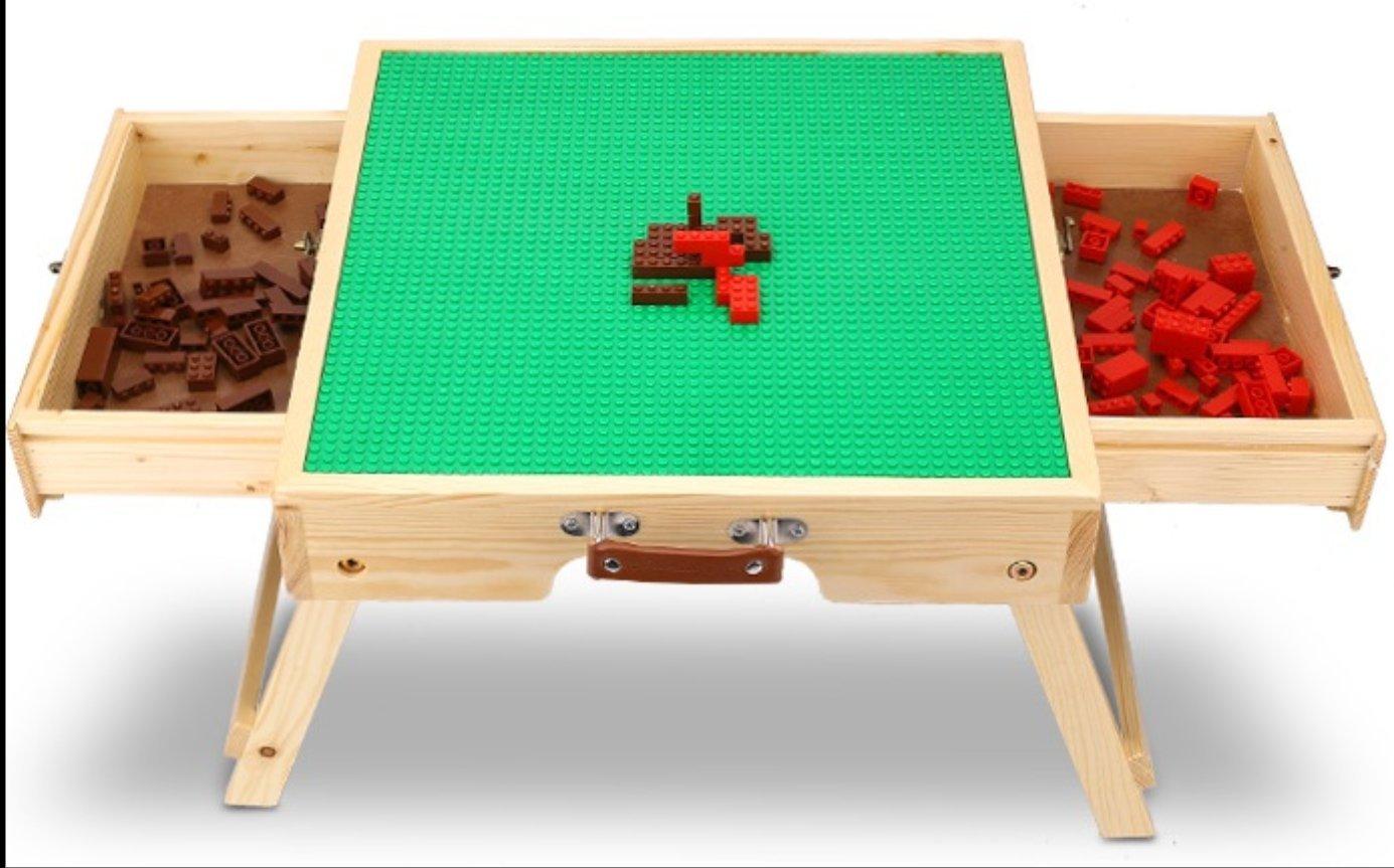 Young  Joy Mesa de Juego Lego con Dobles cajones Laterales, niños construcción Mesa de Juego con cajones de Almacenamiento