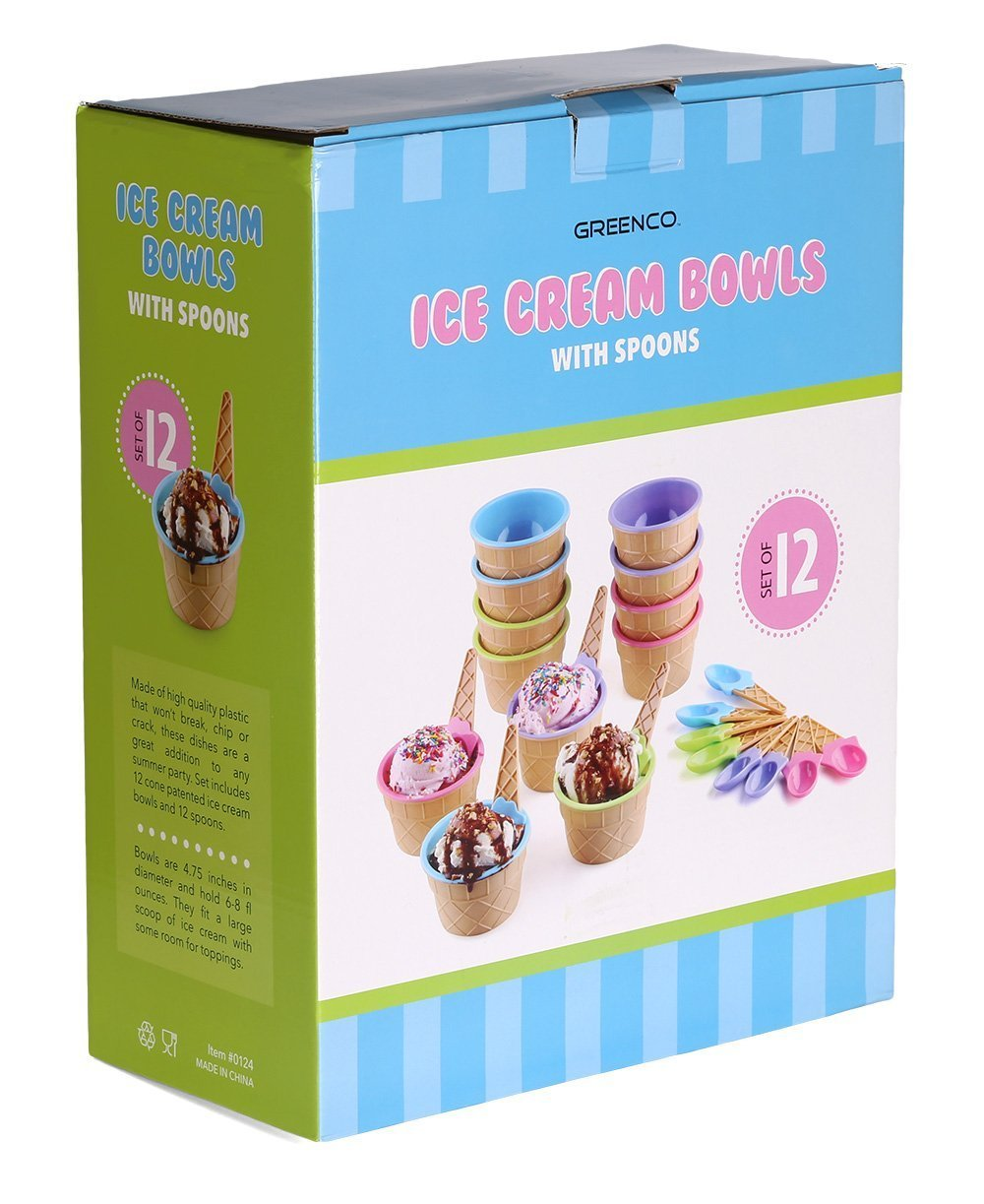 Greenco Vibrant Colors Ice Cream Dessert Bowls and Spoons (Set of 12) by Greenco (Image #2)