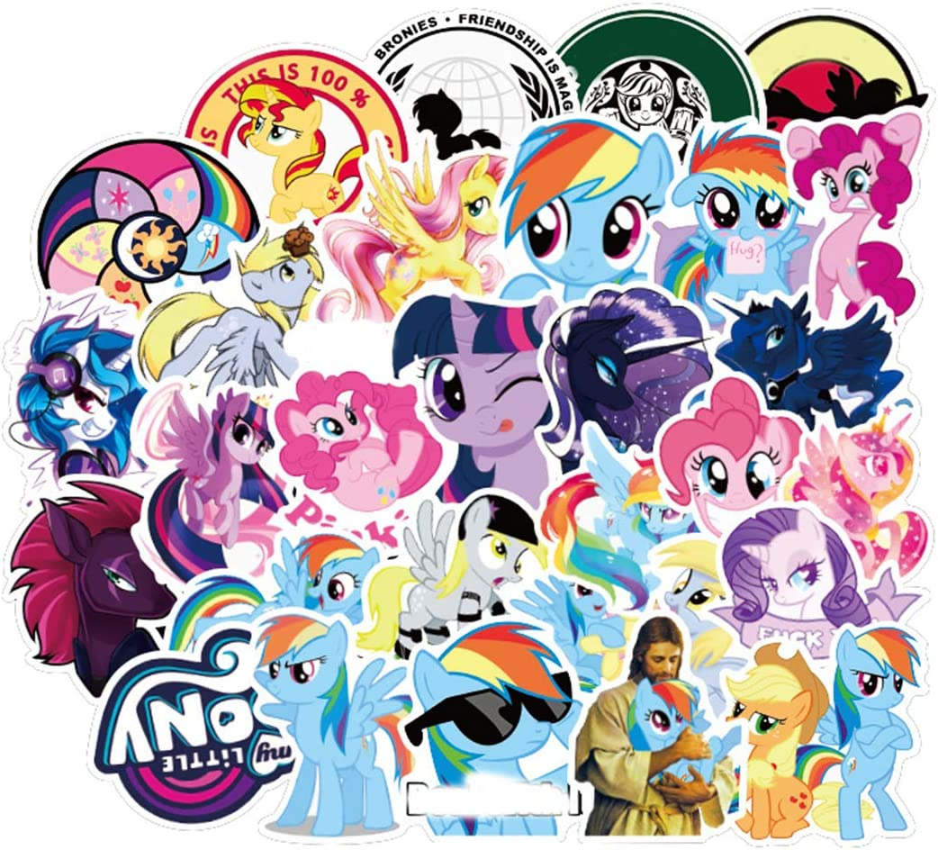 ARPA 50Pcs American Cartoon My Little Pony Stickers for Laptops Books Cars Motorcycles Skateboards Bicycles Suitcases Skis Luggage Cup Hydro Flasks etc DJKT