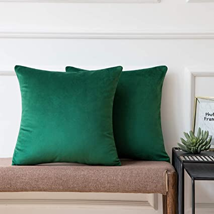 Ashler Pack of 2 Soft Velvet Decorative Throw Pillow Cushion Cover Sets Army Green 22 x 22 Inches 55 X 55 cm
